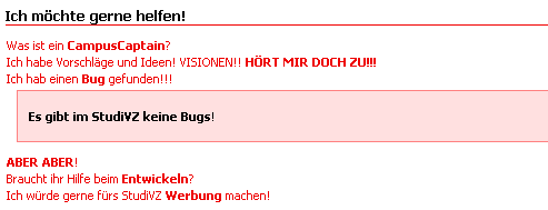 Studivz bug