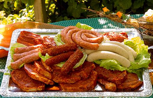 Bratwurst Grillfleisch Grillfakeln Steaks